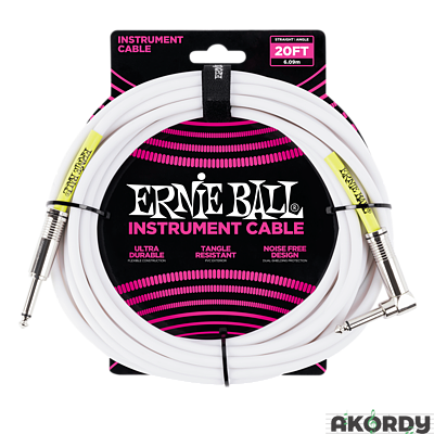 ERNIE BALL Angle instrument cable 20' - white