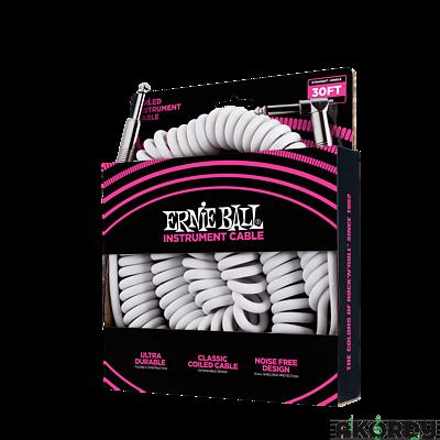 ERNIE BALL Coil Cable Straight/An 30' - white - 2